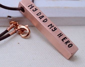 Personalized Copper Bar Necklace for Dad, My Dad My Hero, Fathers Gift, Grandfather Grandpa Necklace, Mens Necklace, Christmas Gift for Dad