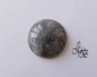 """Cabochon 30 mm polymer clay """"iridescent gray"""" #2"""