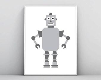 Robot Print, Boy Baby Children Kids Room, Nursery Wall Art, School Classroom Decor, Printable Poster, Robot Illustration, Digital Download