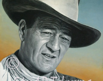Original Canvas Painting, JOHN WAYNE, 30 x 24 x 1.5 inches