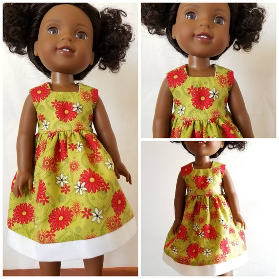 Cute Flowered Dress with White Hem for 14.5 Inch Doll Wellie Wisher