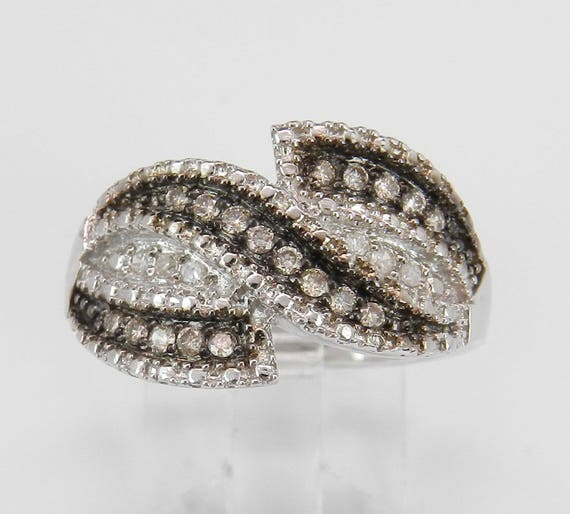 Cognac Diamond Ring White Gold Ring 1/2 ct Anniversary Band Size 6.75