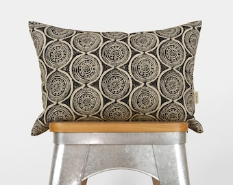 Medallion Decorative Pillow Case | Black and Natural Beige Indian Inspired 12x18 Lumbar Throw pillows | Accent Cushion Cover | Boho Decor