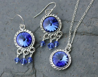 Fancy Sapphire & Silver Necklace and Earring Set - Deep blue Swarovski crystal rivoli, sterling silver figaro chain - free shipping USA