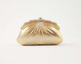 ON SALE Vintage Gold Art Deco Clutch - Metal Hard Shell Evening Bag - Wedding Bridal Clutch Purse w/ Rhinestone Detail & Chain Strap