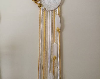 Gold & white floral lace dream catcher