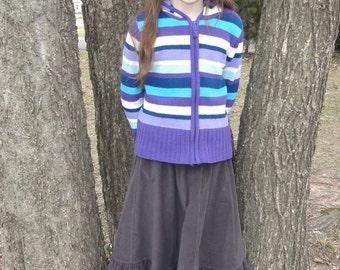 Girls Long Handmade Modest Winter Corduroy Ruffle Skirt Multiple Colors Sizes 4-14