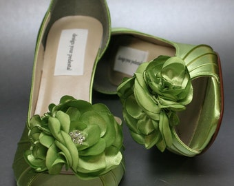 Custom Wedding Shoes -- Spring Green Peeptoes with Matching Flower Adornment - Choose Your Color