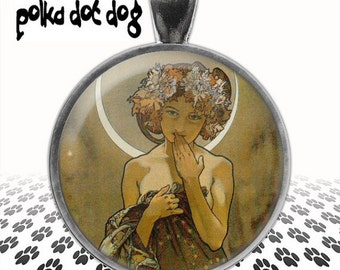 The Moon -- Alphonse Mucha Art Nouveau Large Glass-Covered Pendant