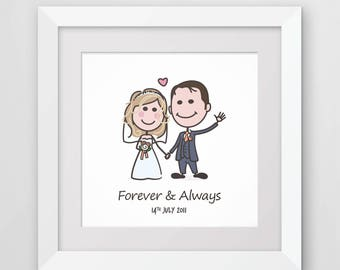 Bride and groom illustration, custom wedding portrait,  stick figure couple, personalised wedding gift, anniversary present