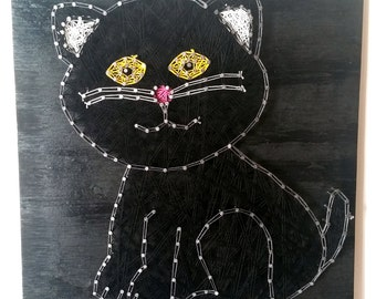 Black Cat String Art Sign, Made to Order
