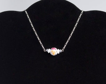 Mini Set Necklace, Chokers, Ceramic Necklace Set, White Jewelry. Pink Rose, Silver Necklace,