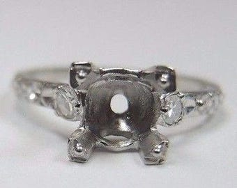 Vintage Antique Diamond Platinum Engagement Ring Setting |Will Hold 6.5-7MM| ES-244