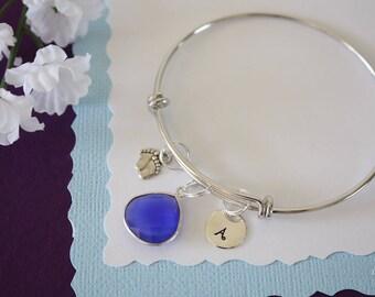 Mom Bangle Bracelet Silver, Initial Bangle, Expandable, Sterling Silver, Nana Bracelet, Mommy Charm, Friendship, Monogram, BFF, Blue
