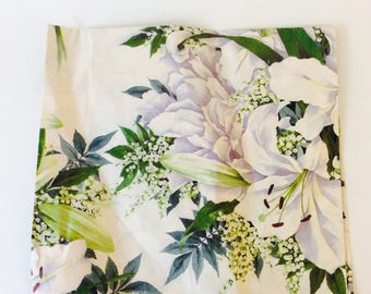 """Vintage Wrapping Paper 30"""" x 19"""" White Green Cream Floral Gift Wrap Any Occasion Flowers Shower Birthday Bridal Orchid Scrapbook Craft Paper"""