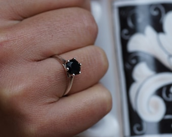 Black Onyx 14k Gold Ring/ Solitaire Ring