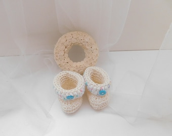 cotton baby booties, Candy color baby booties, crochet baby booties, baby shower gift, baby girl gift, gift for baby, baby shoes, crib shoes