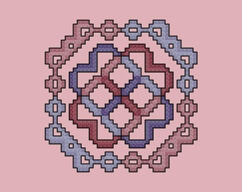 Violet and Mauve Quilt Square cross stitch pattern PDF Digital Download