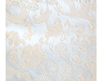 White Dragon - 1lb Bundle of Chinese Silk Brocade Fabric Pieces Panels Craft Quilt Corsetry