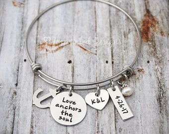 Personalized Anchor Bangle - Love Anchors The Soul - Adjustable - Anniversary Gift - Wedding Gift - Initials - Date - Couples Jewelry