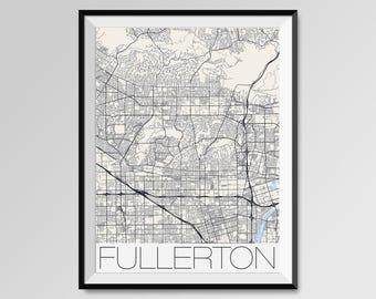 FULLERTON California Map, Fullerton City Map Print, Fullerton Map Poster, Fullerton Wall Map Art, Fullerton gift, Custom city maps