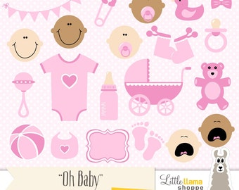 Baby Girl Clipart, Pink Baby PNG Clip Art, Baby Shower Graphics, Caucasian Baby Black Baby Brown Baby Skin Options