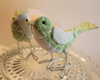 Bird Cake Topper Green Wedding Cake Topper Birds: Fabric Bird Cake Topper in green scroll print and white fabrics for weddings love birds