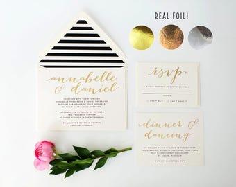 annabelle gold foil wedding invitation sample // rose gold foil / silver foil / black white stripes / modern / calligraphy / custom / invite