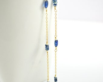 Blue Kyanite Necklace, Wire Wrapped, Station Chain, Royal Blue Kyanite, Ivory Seed Pearl, Blue Gem Necklace, Royal Blue Gemstone, Gold Chain