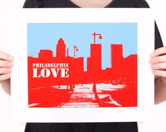 PHILADELPHIA LOVE Print: City Skyline & Streets (Red, White, and Blue) Philly Love Cityscape Wall Art
