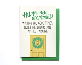 Happy New Apartment Card - Funny Housewarming Card - Funny Moving Card - New House Card