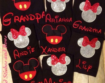 Custom embroidered Disney shirts minnie and mickey mouse set of 3