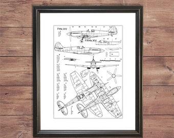 World War 2 British Supermarine Spitfire Blueprints/Schematics