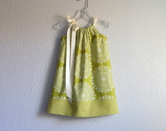 Toddler Girls Spring Dress -  Avocado Green and Cream Pillowcase Dress - Girls Green Floral Dress - Size 12m, 18m, 2T, 3T, 4T, 5, 6, 8 or 10