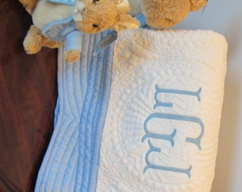 Monogrammed Baby Quilt, Baby Blanket, Personalized baby quilt, white with blue trim baby quilt, Blue and white baby quilt,