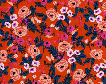 Paint Roses Orange Rayon from Wonderland by Anna Bond of Rifle Paper Co for Cotton + Steel - 1/2 Yard