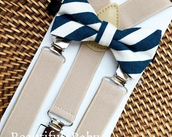 Navy Baby Bow Tie, Navy Toddler Bow Tie, Little Boy Bow Tie and Suspenders, Tan Toddler Suspenders, Suspender and Bow tie Set- 6 Mo to 5