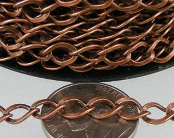 Antique Copper Chain bulk Chain, 32ft of Antique Copper  Finished Big Hammered Curb Chain - 7.8x6.0mm Unsolodered Link 18G