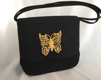 Vintage , Morris Moskowitz, Gold Butterfly, Black Evening Bag, 1960s