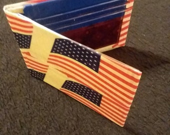American Flag Duct Tape Bifold/ Bilfold Wallet Red, White, Blue