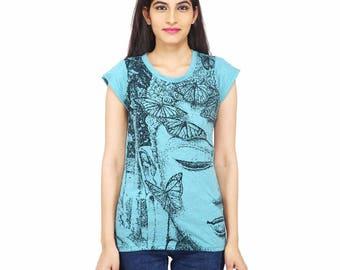 Women's Buddha T-shirt in Turquoise, Hippie t-shirt, Yoga, meditation, hipster, festival clothing, spiritual clothing, tribal, hippie chic