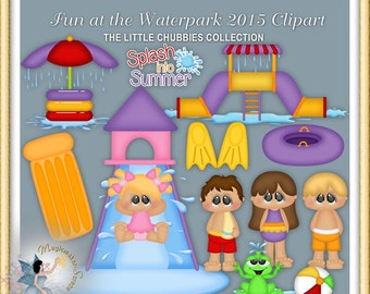 Waterpark Clipart, Summer, Swimming, Fun at the Waterpark 2015