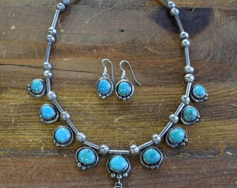 Vintage Southwestern Sterling Silver And Turquoise Necklace and Earrings Set