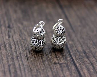 1PC sterling silver gourd pendant, sterling silver gourd charm,hollow gourd pendant