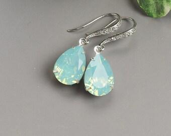 Swarovski Earrings - Mint Earrings - Crystal Teardrop Earrings - Bridesmaid Earrings - Bridesmaid Gifts Jewelry - Silver Mint Green Earrings