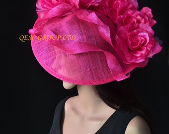 Hot pink fuchsia Big saucer sinamay fascinator hat with silk flower,ideal for Kentucky derby wedding party Royal Ascot races church