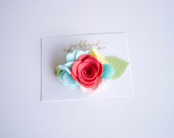 Coral, Yellow, Mint + Seafoam Floral Cluster / Felt Flowers / Nylon Headband / Easter / Flower Girl // Handmade // Photo Prop