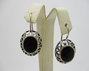 Sterling Silver Oval Onyx Cabochon Sunburst Drop Earrings