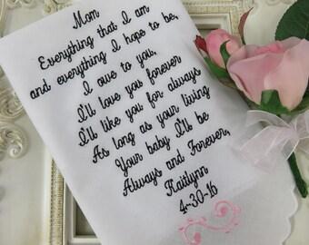 Personalized Wedding Handkerchief -Wedding Gift For Mother Of The Bride -Wedding Handkerchief -Embroidered Wedding Gift 2018 Wedding Gift