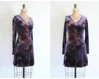 vintage 90s purple crushed velvet mini dress - 90s bodycon dress / 80s tie dye velvet dress - soft grunge dress / festival dress
